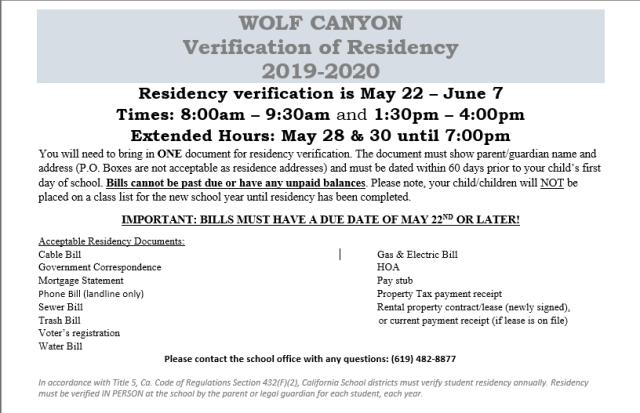 2019-20 Residency Verification