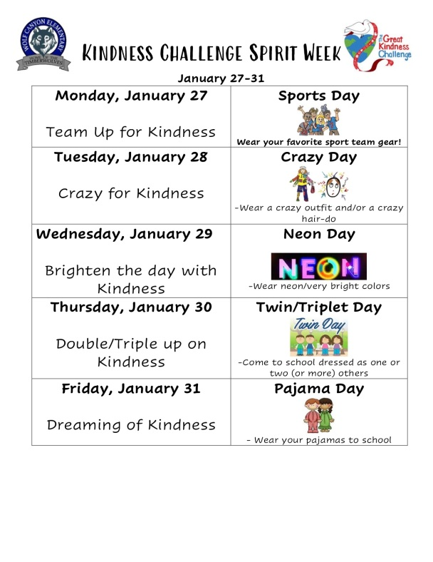 19-20 Kindness Challenge Spirit Week flyer (1) copy